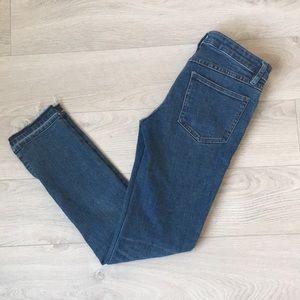 Free people raw hem split leg jeans